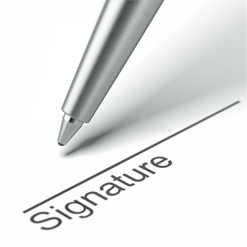 Pen and signature. Isolated on a white background. 3d render stock illustration