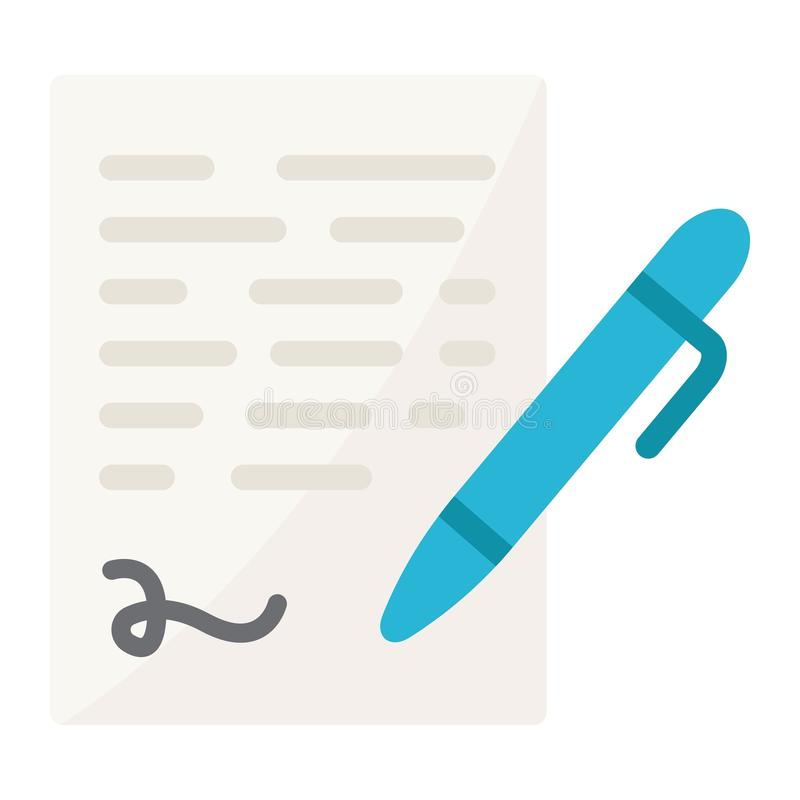 Pen signing flat icon, business contract signature. Pen signing flat icon, business contract and signature, vector graphics, a colorful solid pattern on a white royalty free illustration