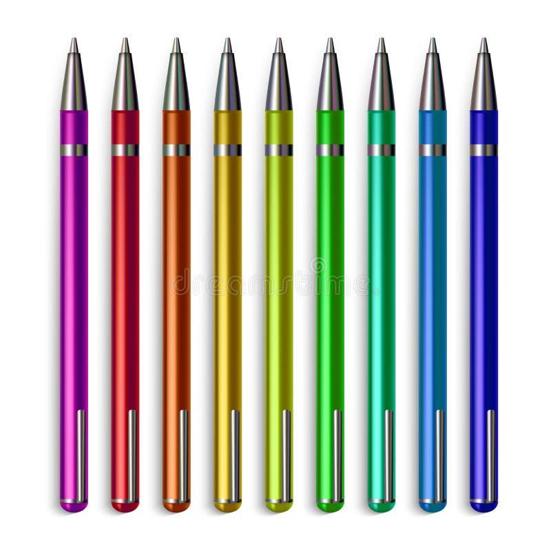 Pen Stationery Set Vector Büro, das Metallwerkzeug-Zusatz schreibt Realistische lokalisierte Illustration vektor abbildung