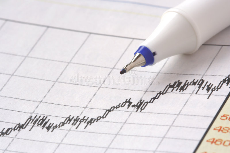 Pen on stock chart on mar 07. Close up shot of pen on stock chart on mar 07 stock photo