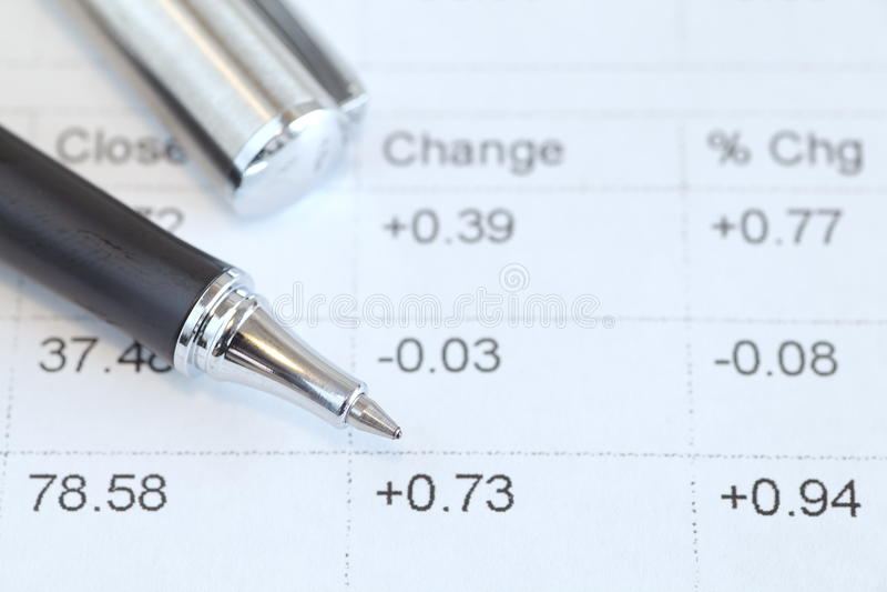 Pen and stock market data chart royalty free stock photo
