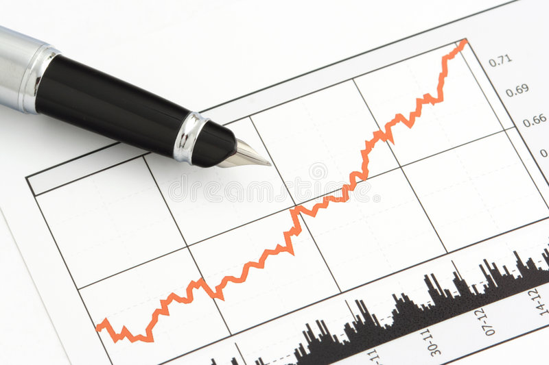 Pen On Stock Price Chart Royalty Free Stock Image
