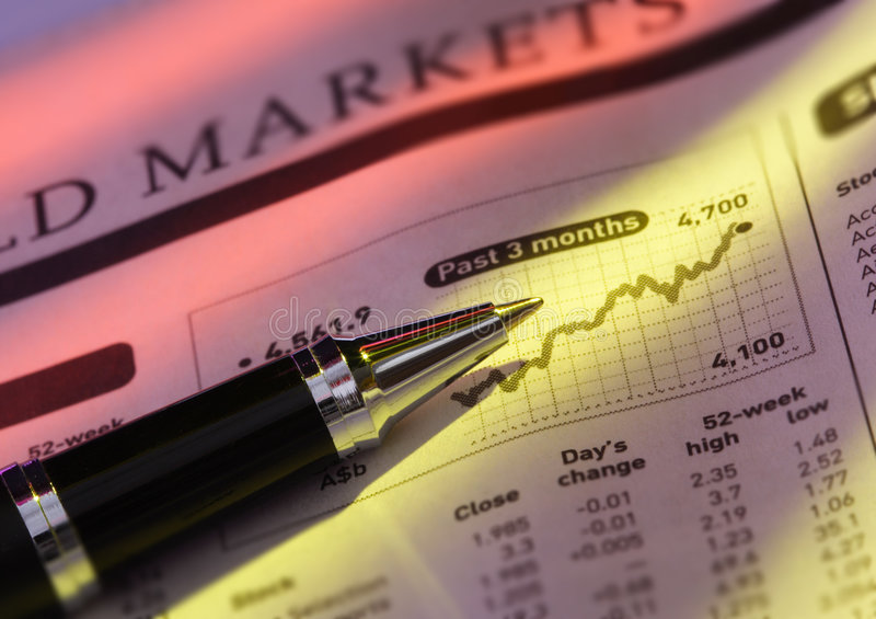 Pen on Stock Price Chart. Close-up shot of a pen on stock price chart stock images
