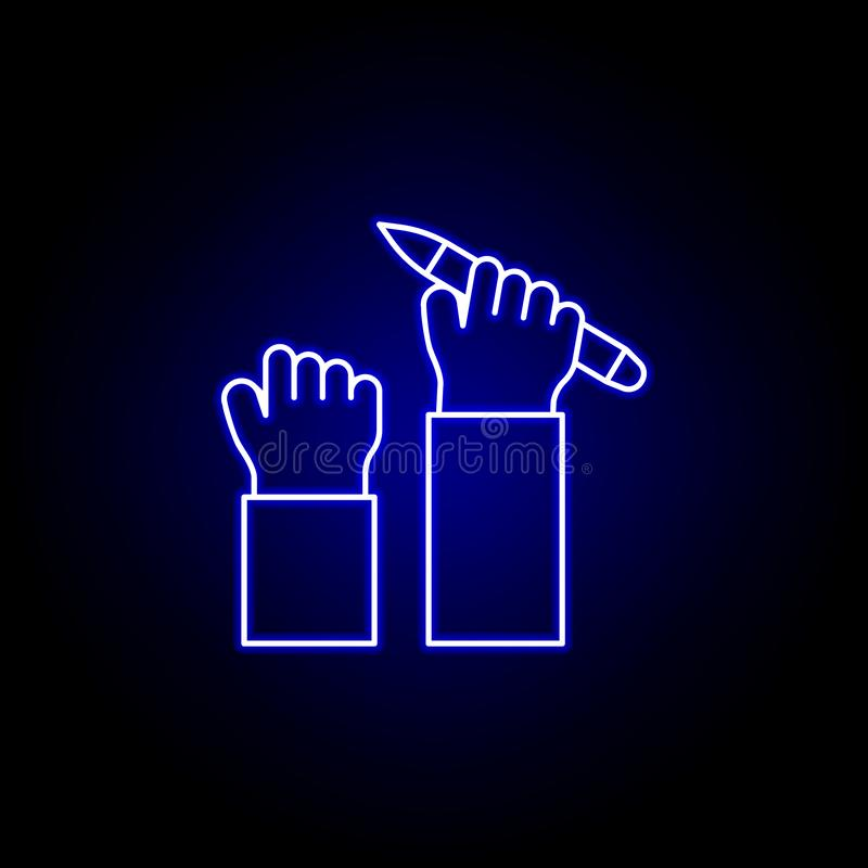 Pen support hand line neon icon. Elements of Business illustration line icon. Signs and symbols can be used for web, logo, mobile. App, UI, UX on black stock illustration