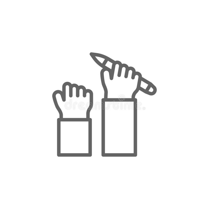 Pen support hand  outline icon. Elements of Business illustration line icon. Signs and symbols can be used for web, logo, mobile. App, UI, UX on white vector illustration