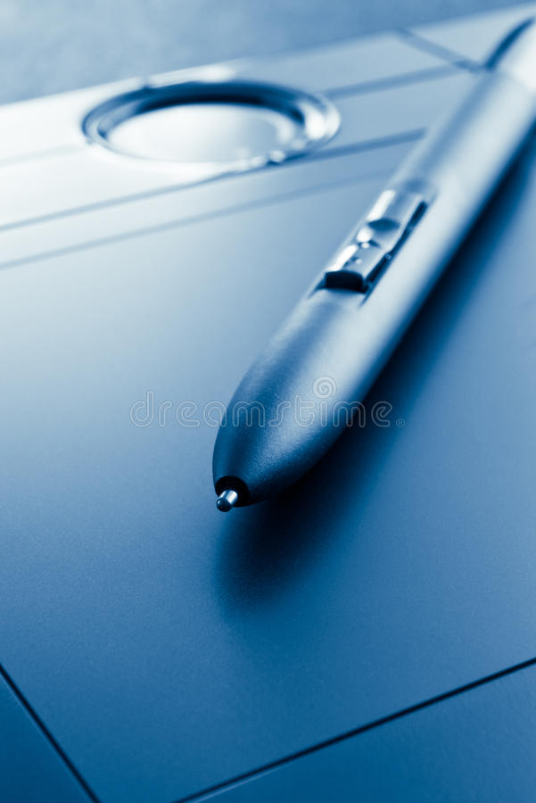 Download Pen tablet blue tinted stock image. Image of draw, office - 10703673