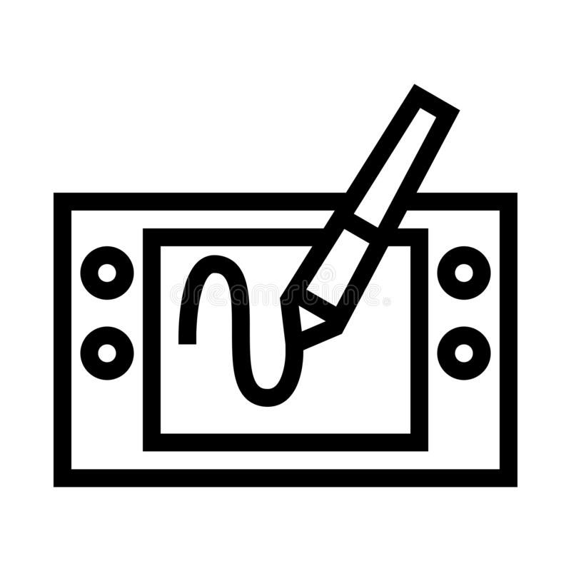 Pen Tablet Drawing Icon stock illustration