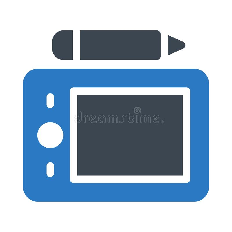Pen tablet glyph color flat vector icon. Pen tablet  vector icon. Elements for mobile concept and web apps. Thin line icons for website design and development stock image