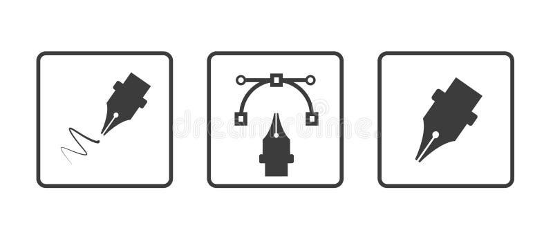 Pen Tool Curve Control Point - verschiedene einfache App-Ikonen - Vektor-Illustration - lokalisiert auf weißem Hintergrund stock abbildung