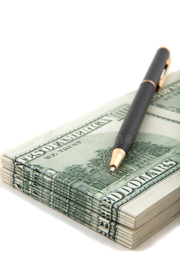 Download Pen On Top Of A Stack Of Cash Stock Image - Image: 11207837