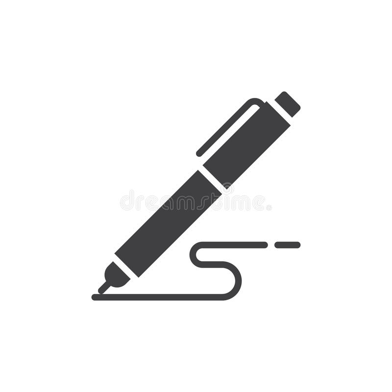 Pen, write icon vector, filled flat sign, solid pictogram isolated on white. royalty free illustration