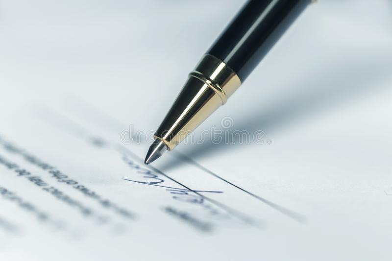 Pen, Writing, Letter. Pen, Writing Letter or Contract Signature Horizontal background royalty free stock images
