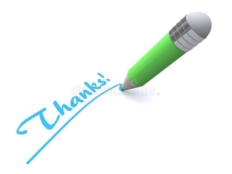Pen writing word thanks. 3d illustration of pen writing words thanks, white background royalty free illustration