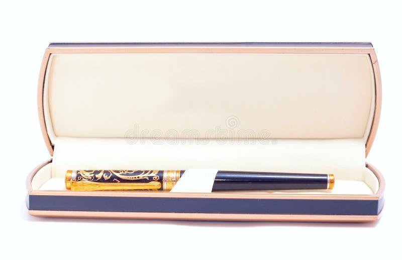 Pen in zwarte doos royalty-vrije stock foto