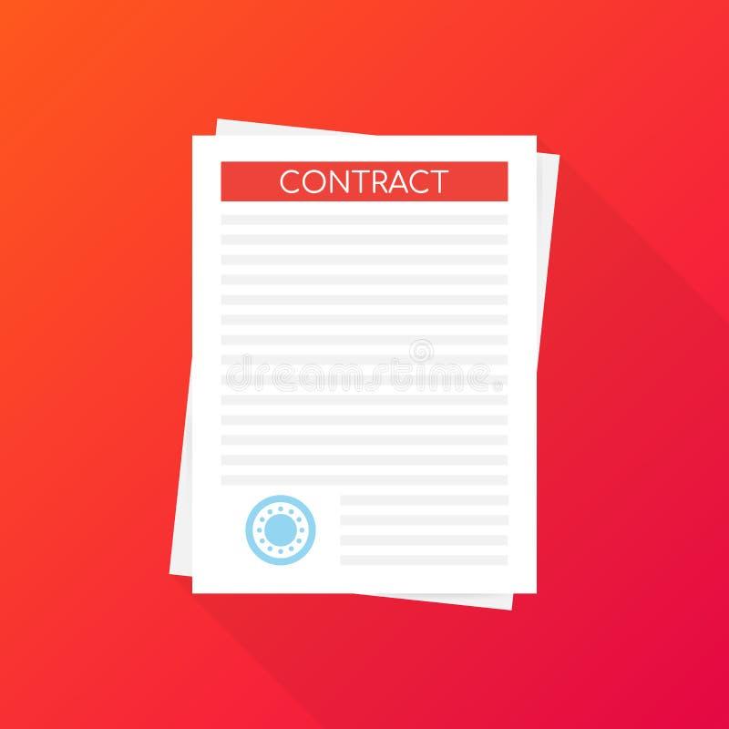 Pena assinada do acordo do ícone do contrato do negócio do papel no negócio liso da mesa Ilustração do vetor ilustração stock