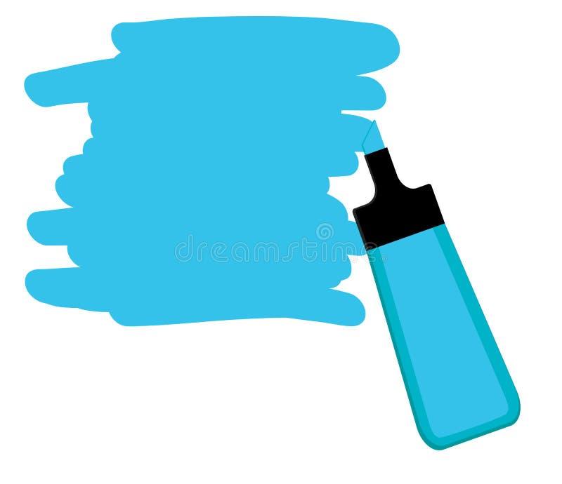 Pena azul do highlighter com área azul para escrever uma mensagem ilustração do vetor