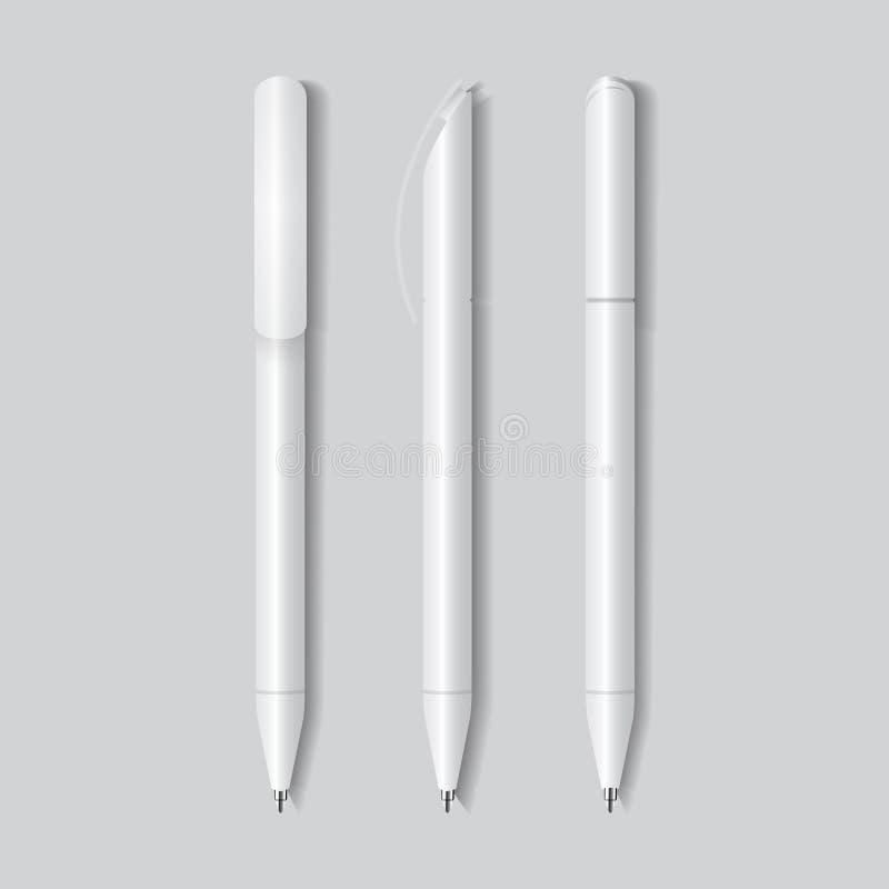 Pena branca, lápis, marcador Molde de marcagem com ferro quente dos artigos de papelaria Ilustração do vetor Zombaria acima do mo ilustração do vetor