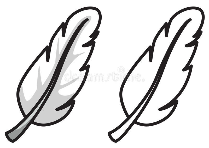 Pena colorida e preto e branco para o livro para colorir ilustração do vetor
