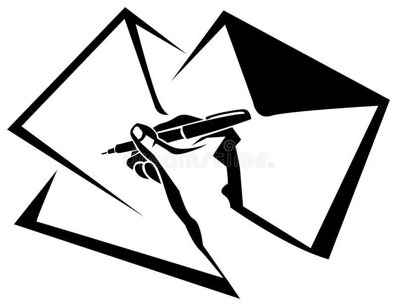Pena com envelopes ilustração do vetor