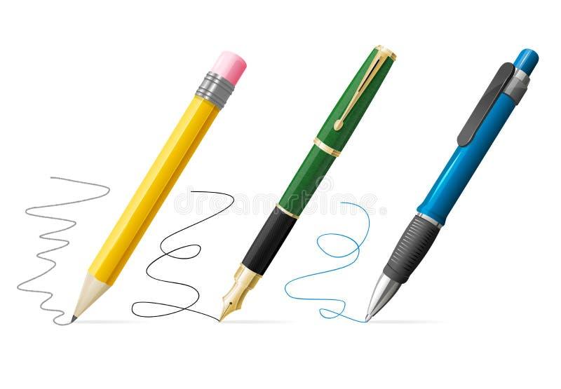 A pena 3d e o lápis realísticos escrevem o grupo Vetor ilustração stock