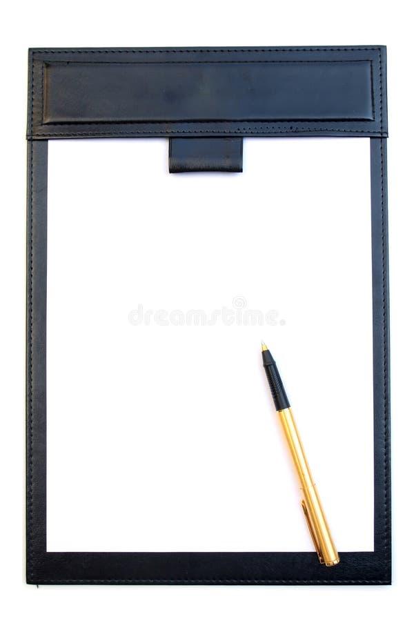 Pena da almofada e do ouro da assinatura isolada fotografia de stock