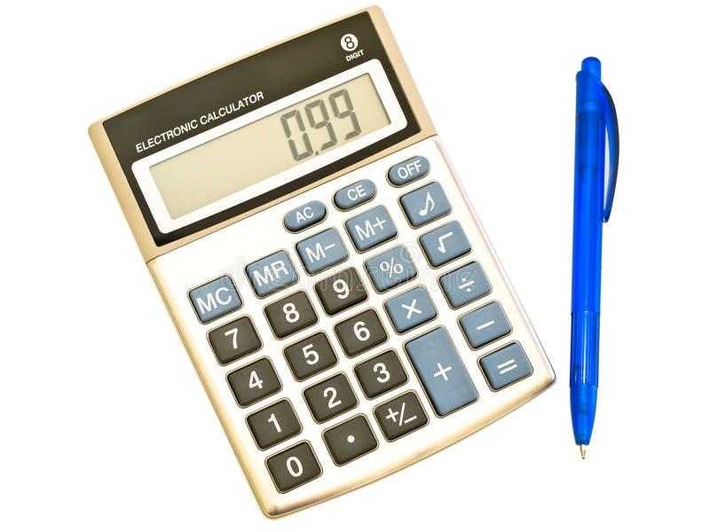 Pena da calculadora e de ballpoint de Digitas foto de stock