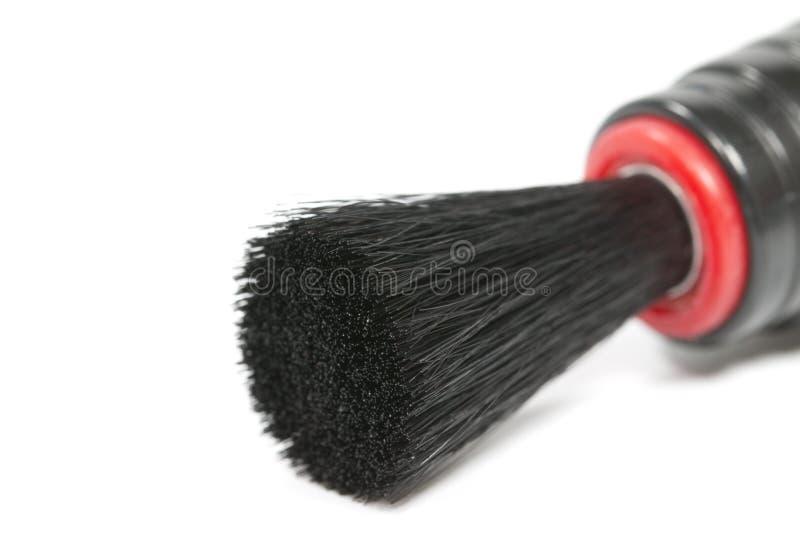 Pena da escova de limpeza da lente isolada no fundo branco fibra Vista lateral Macro fotos de stock royalty free