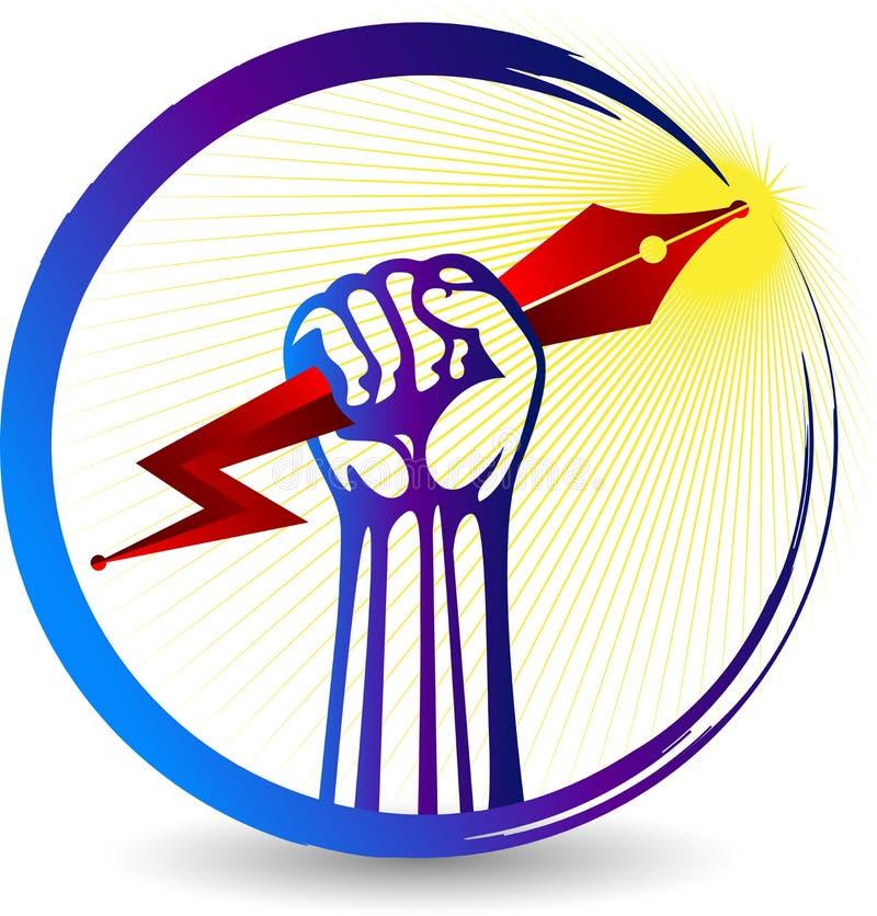 Pena da mão e logotipo do poder ilustração do vetor