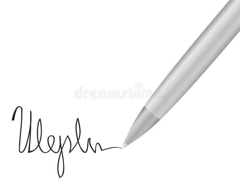 Pena de Ballpoint e assinatura 2 ilustração do vetor