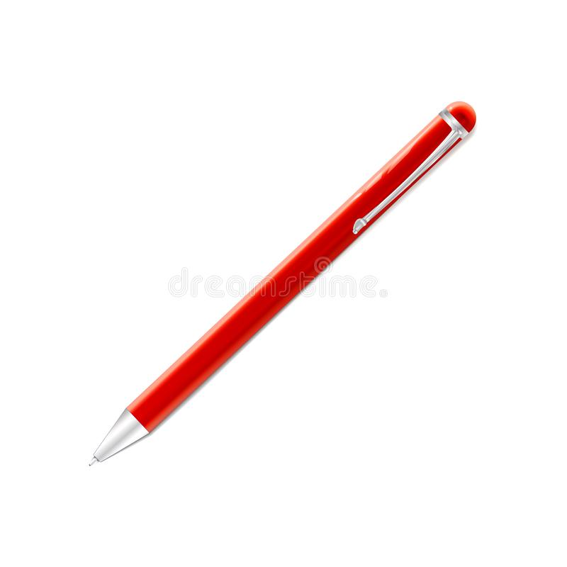 Pena de ballpoint vermelha Engrena o ícone Metal brilhante Ilustração plástica escrita Eps 10 Artigos de papelaria realísticos pa ilustração do vetor