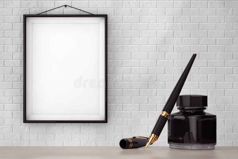 Pena de fonte com a garrafa de tinta na frente da parede de tijolo com F vazio imagens de stock royalty free