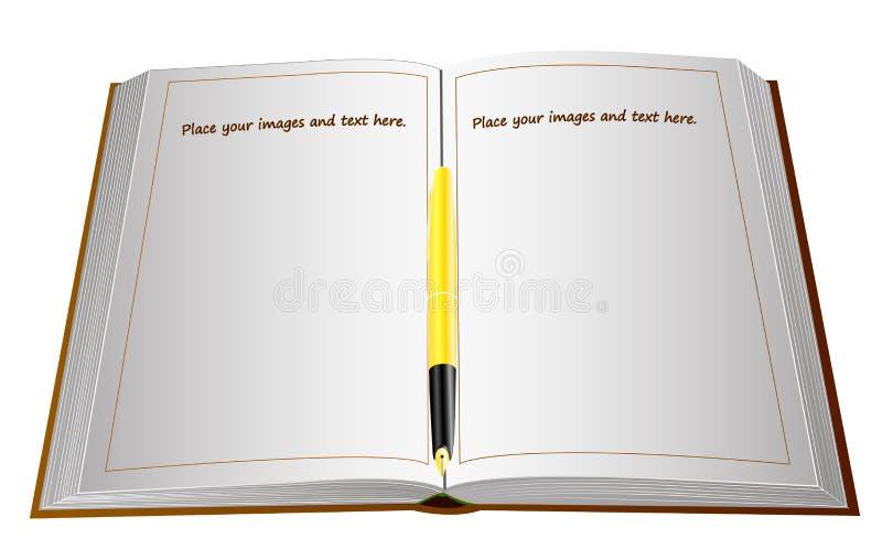 Pena de fonte com uma pena do ouro em um grande livro aberto com páginas vazias ilustração do vetor