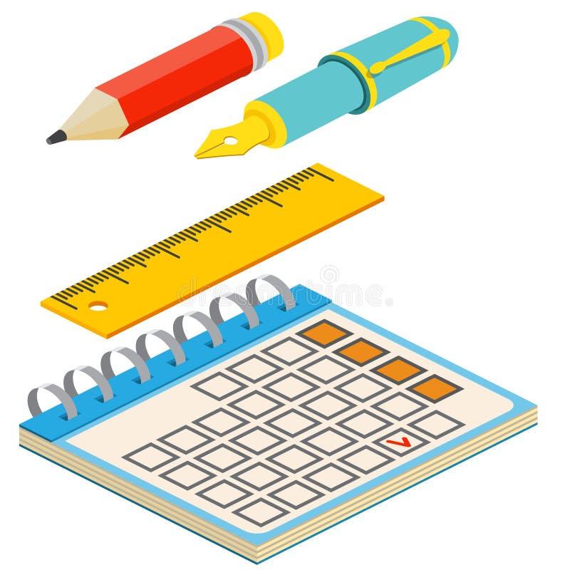 Pena de fonte, lápis, calendário e régua isométricos no backg branco ilustração do vetor