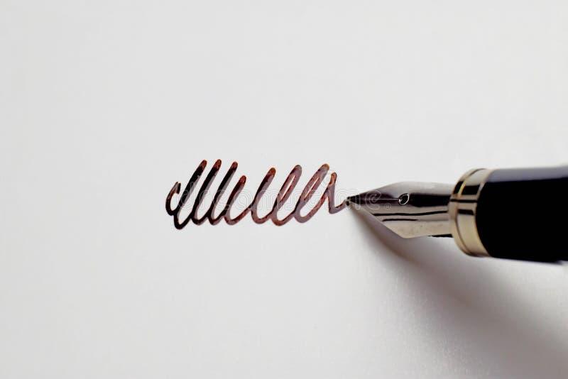 Pena de fonte de prata que faz a assinatura ao Livro Branco vazio com a tinta imagem de stock royalty free