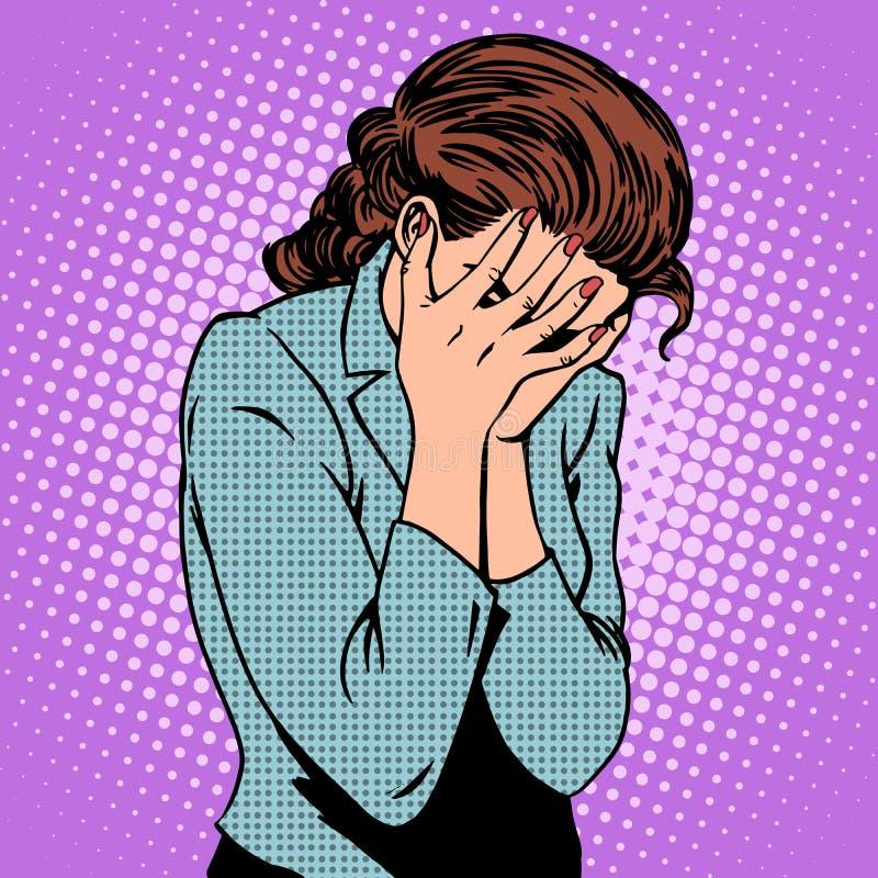 Pena de las emociones de la mujer que llora stock de ilustración