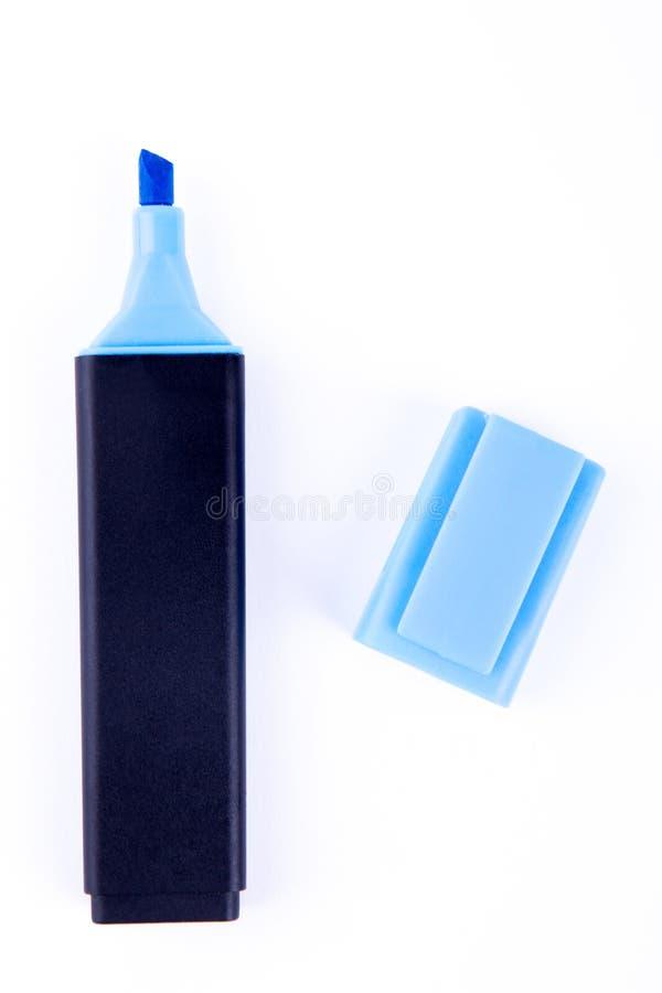 Pena de marcador azul isolada imagem de stock