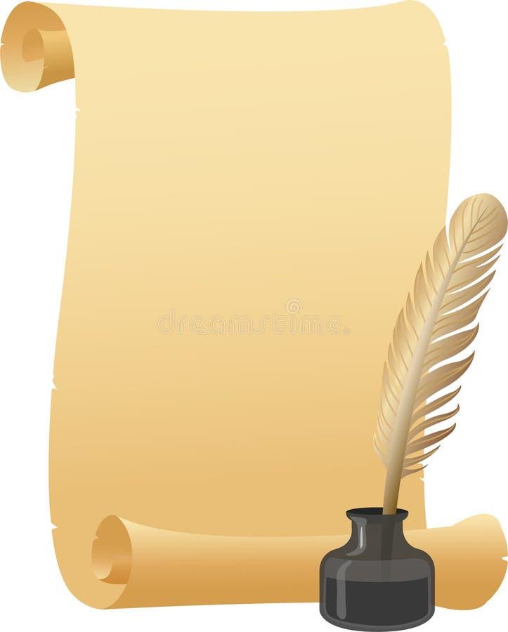 Pena de Quill do rolo do pergaminho/eps ilustração do vetor