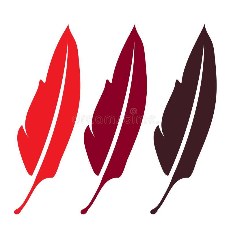 pena de três vermelhos, símbolo da escrita da literatura da elegância - a pena, a pena bonita da silhueta, canta para o pássaro d ilustração do vetor