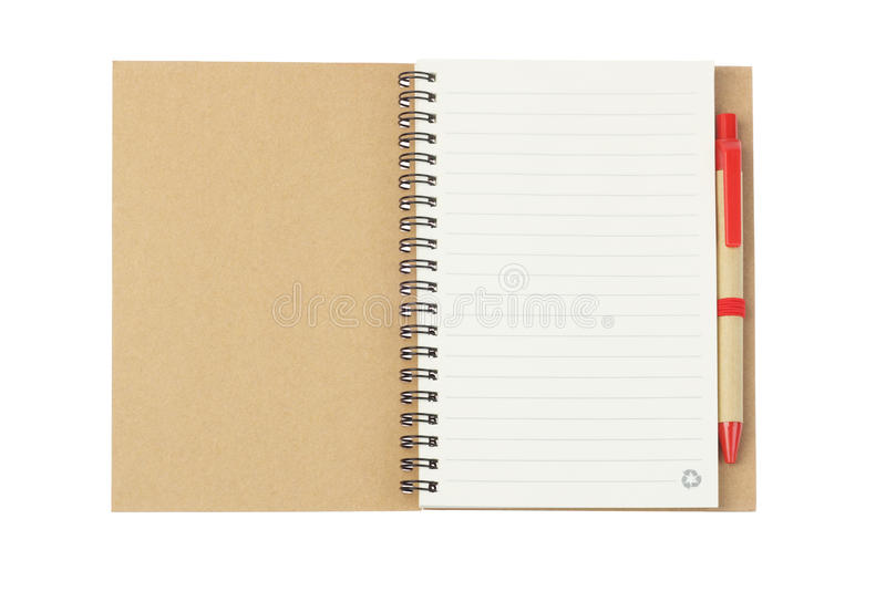 Pena do caderno e de Ballpoint imagens de stock royalty free