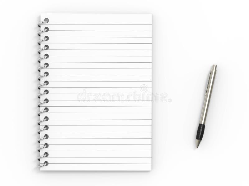 Pena do caderno e de ballpoint ilustração stock