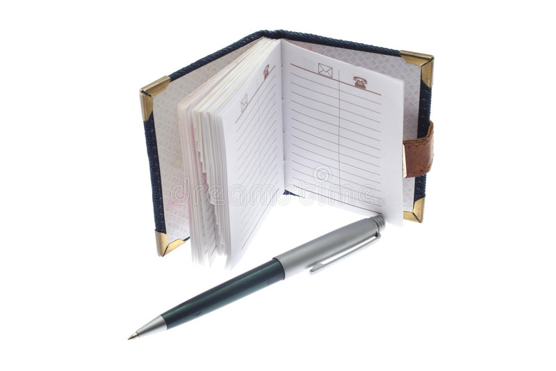 Pena do caderno e de esfera fotos de stock royalty free