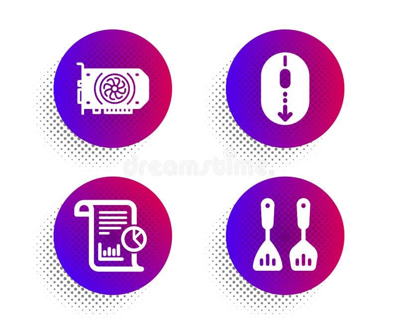 Pena do relatório, do rolo e de ícones de Gpu grupo Cozinhando o sinal da cutelaria Trabalhe a análise, furto do rato, cartão grá ilustração royalty free