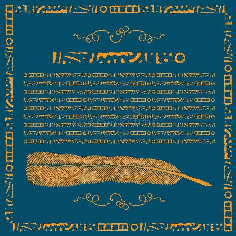 Pena dourada com bloco de texto ilustração do vetor
