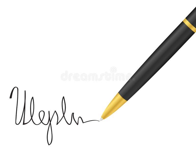 Pena e assinatura de Ballpoint ilustração royalty free