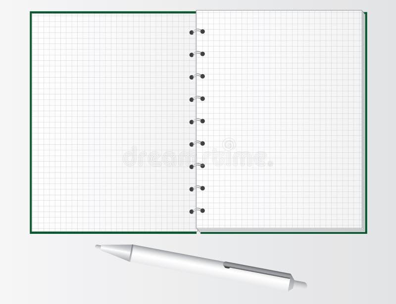 Pena e caderno para estudantes ilustração stock