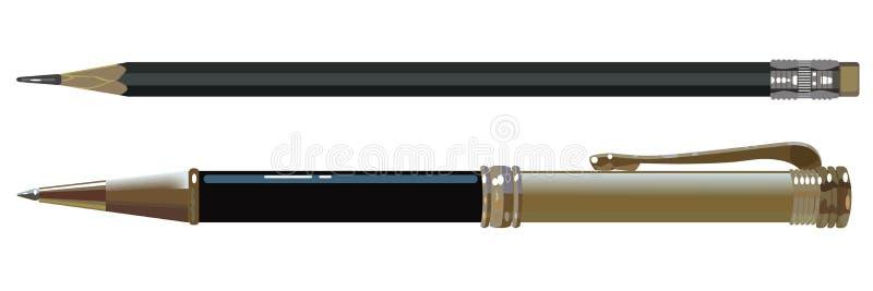 A pena e o lápis de ballpoint ilustração do vetor