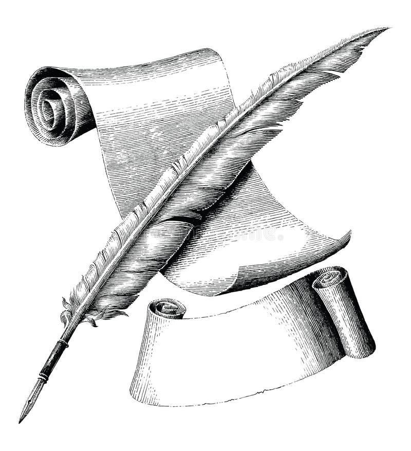 A pena e o papel vazio com bandeira entregam o engra do vintage do desenho ilustração stock