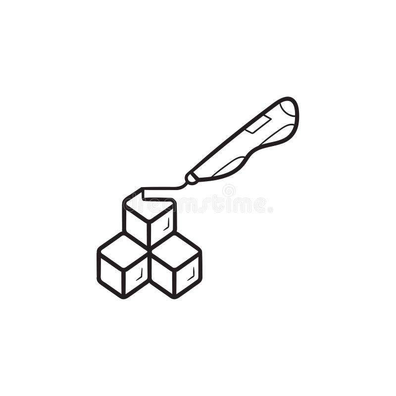 a pena e os cubos do doodler 3d entregam o ícone tirado da garatuja do esboço ilustração stock