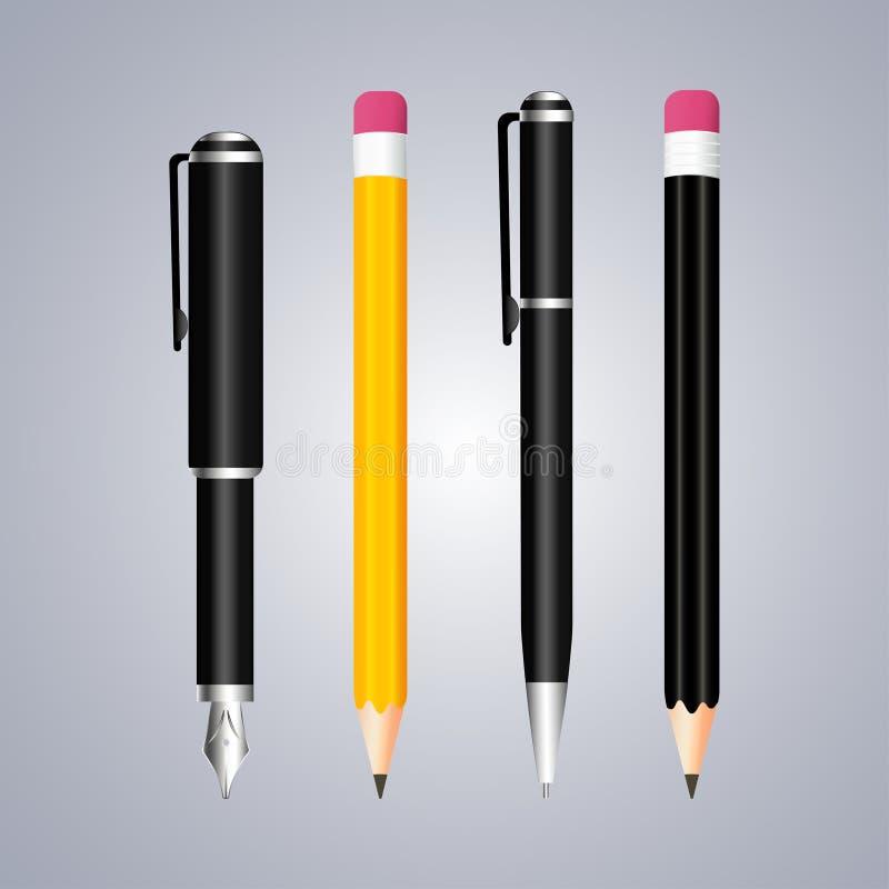 Pena e pecil realísticos no fundo cinzento stationery ilustração stock
