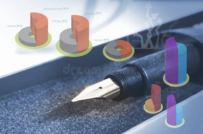 Pena e ponta do close up com gráfico, ideia da economia, ideia do negócio, defocus ilustração royalty free